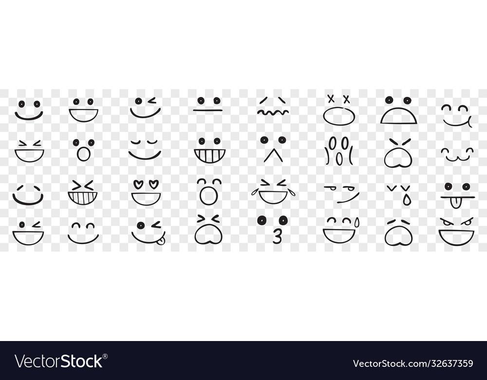 Hand drawn emotions doodle set