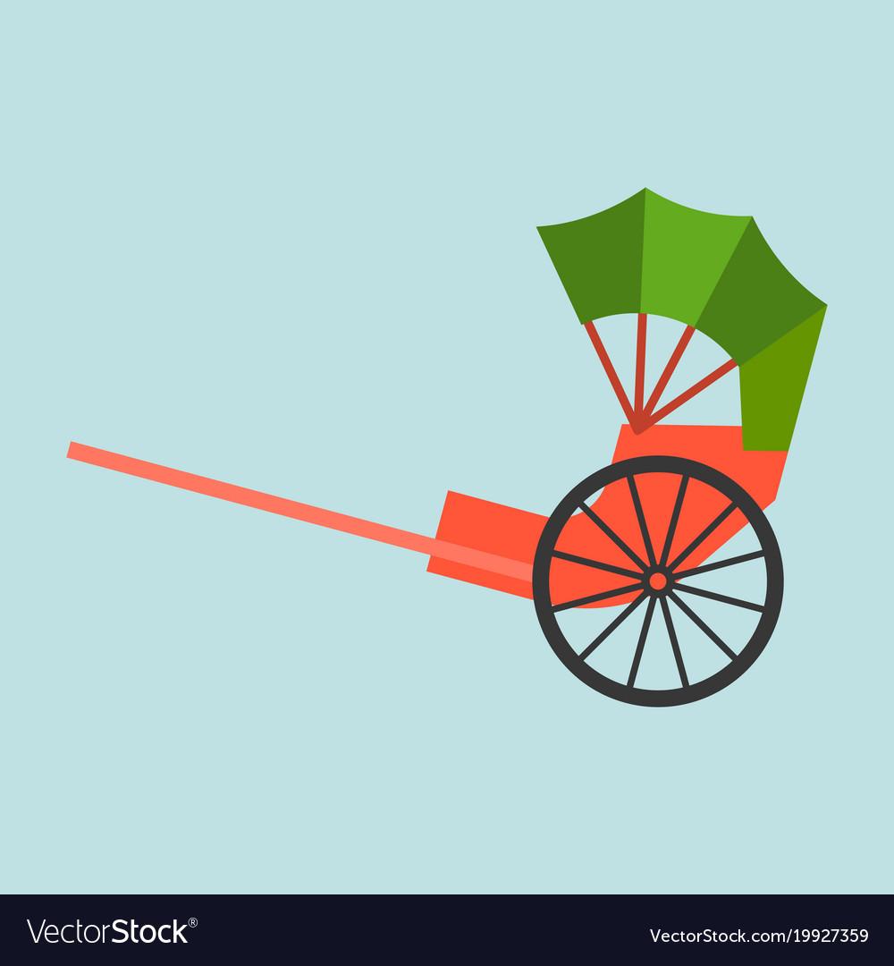 Hong kong rickshaw icon flat design vector image