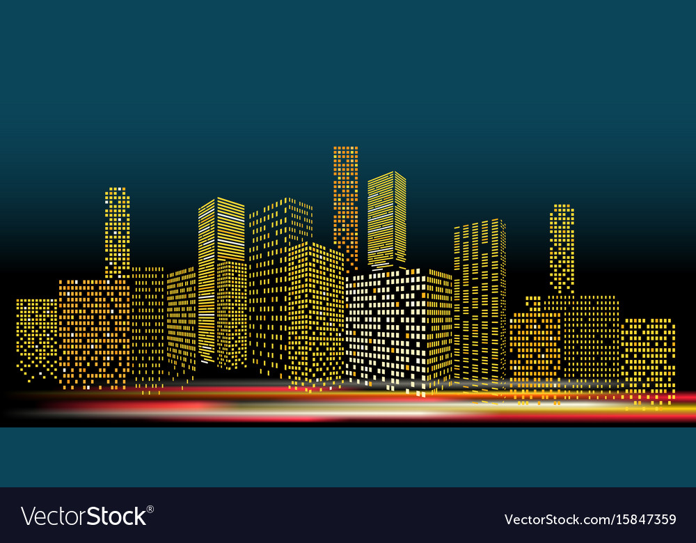 Modern cityscape in the evening city buildings