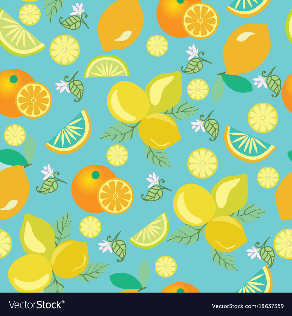 Pattern with lemons flowers leaves and oranges