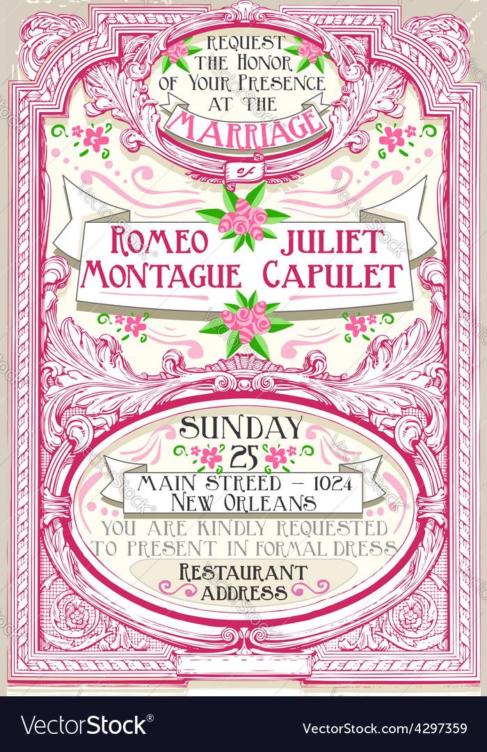 Pink Floral Vintage Wedding Invite