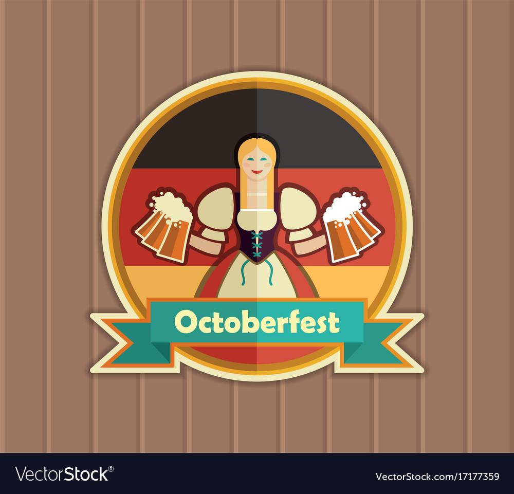 Pretty bavarian girl with beer oktoberfest label