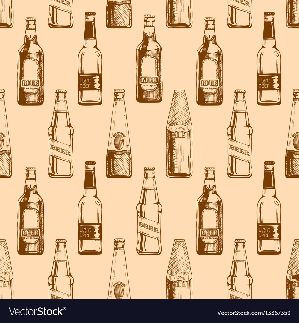 Seamless pattern with different beer bottles