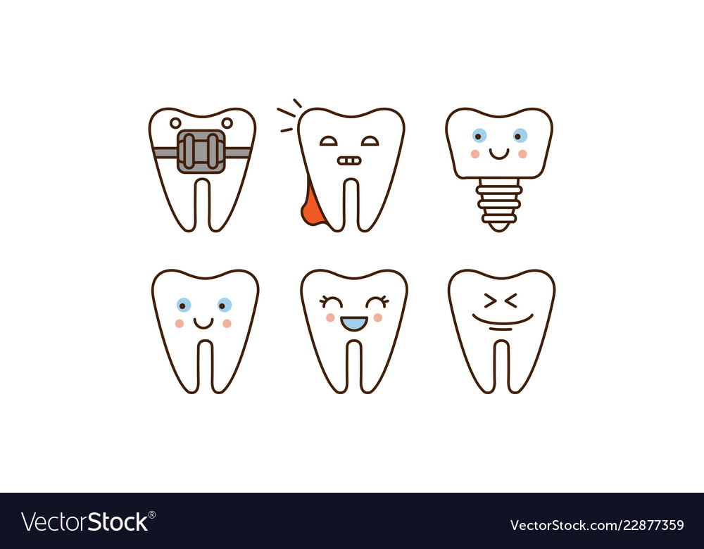 Stomatology and dental line icons set cute teeth