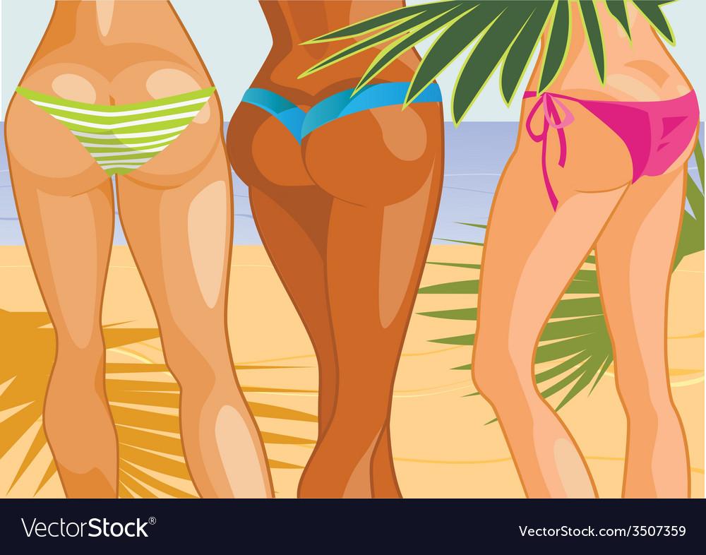 4ea62b6d184b6 Three girls on beach Royalty Free Vector Image