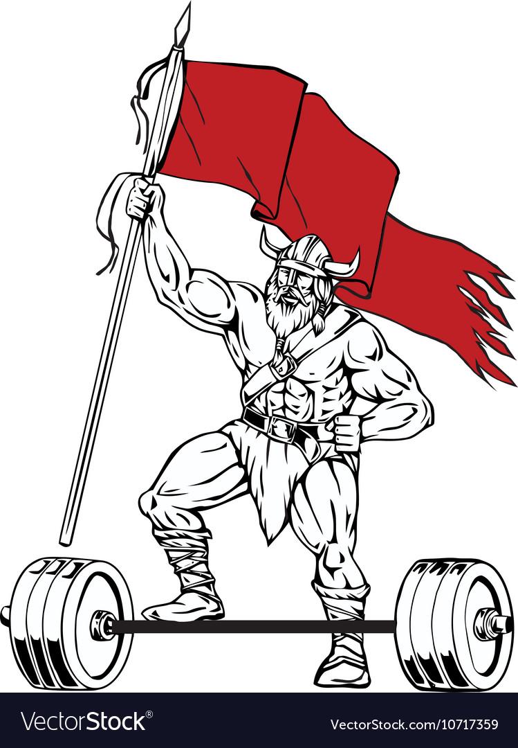 Viking Warrior Barbell Waving Flag Retro