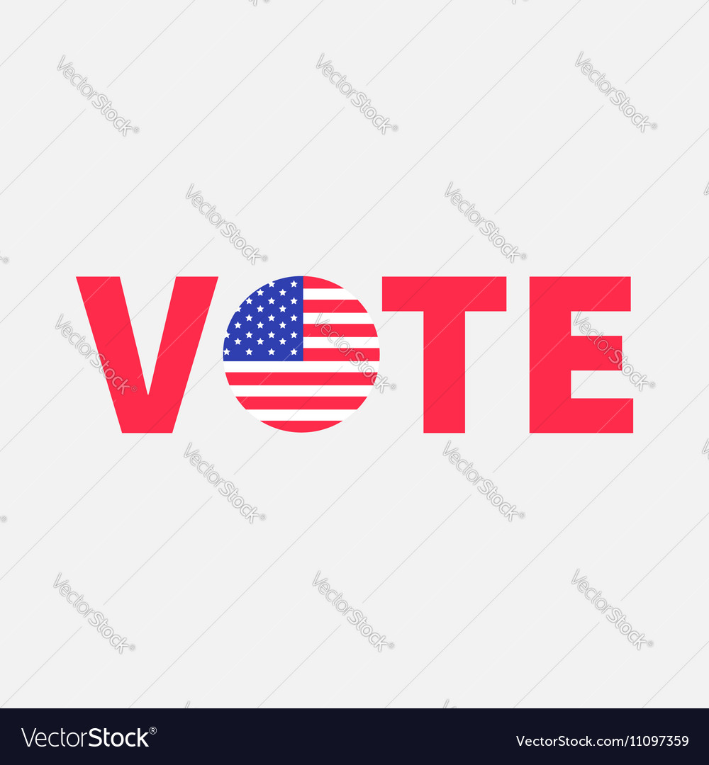 Vote red text Blue badge button icon with American