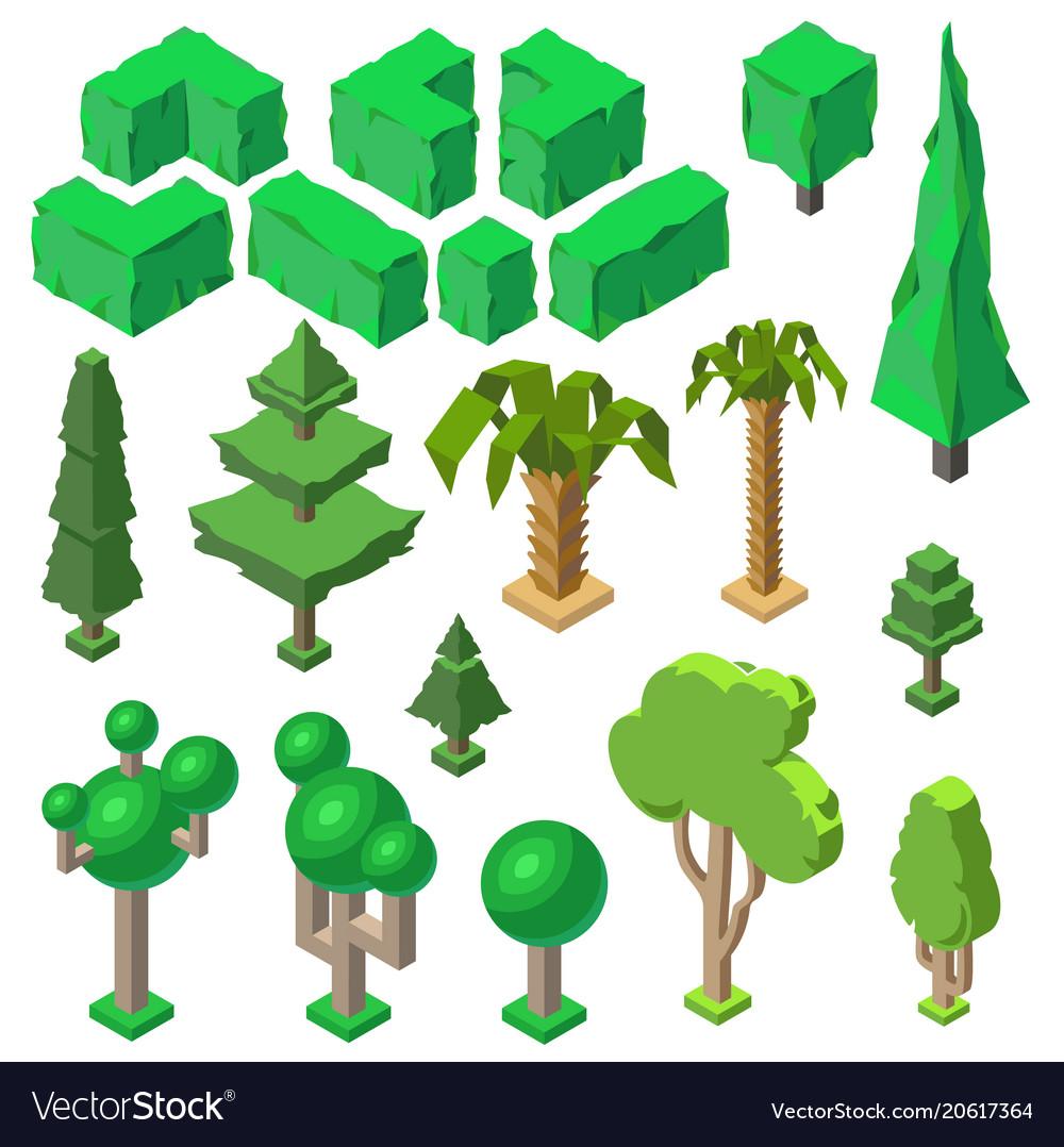 3d isometric plants trees bushes palms