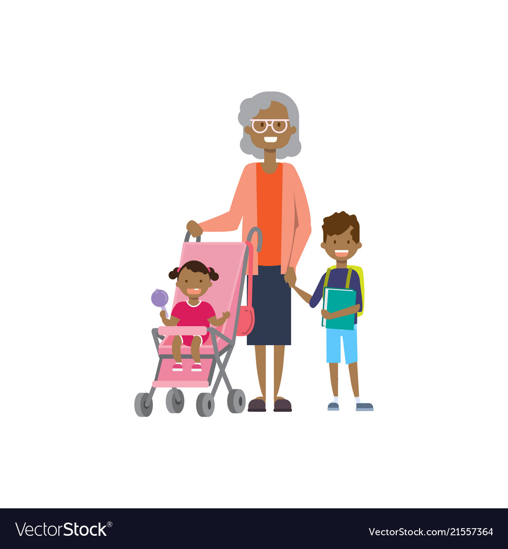 African grandmother with baby grandchildren in