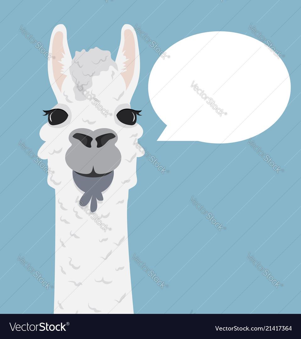 Alpaca lama portrait with speech bubble