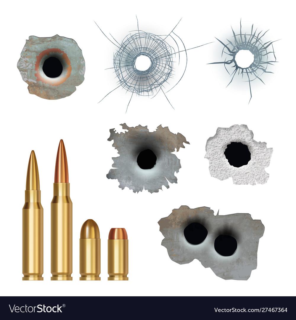 Bullets realistic damaged cracked gun holes