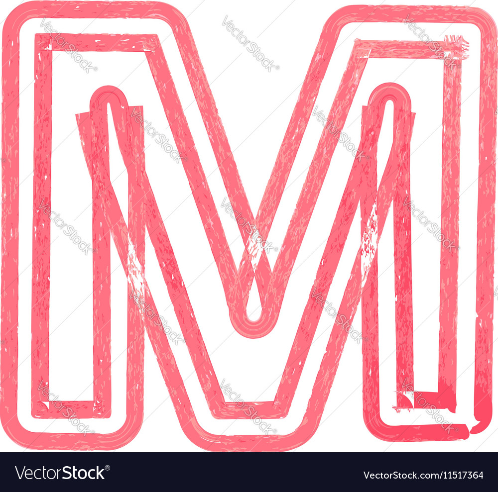 Capital Letter M Drawing With Red Marker Vector Image