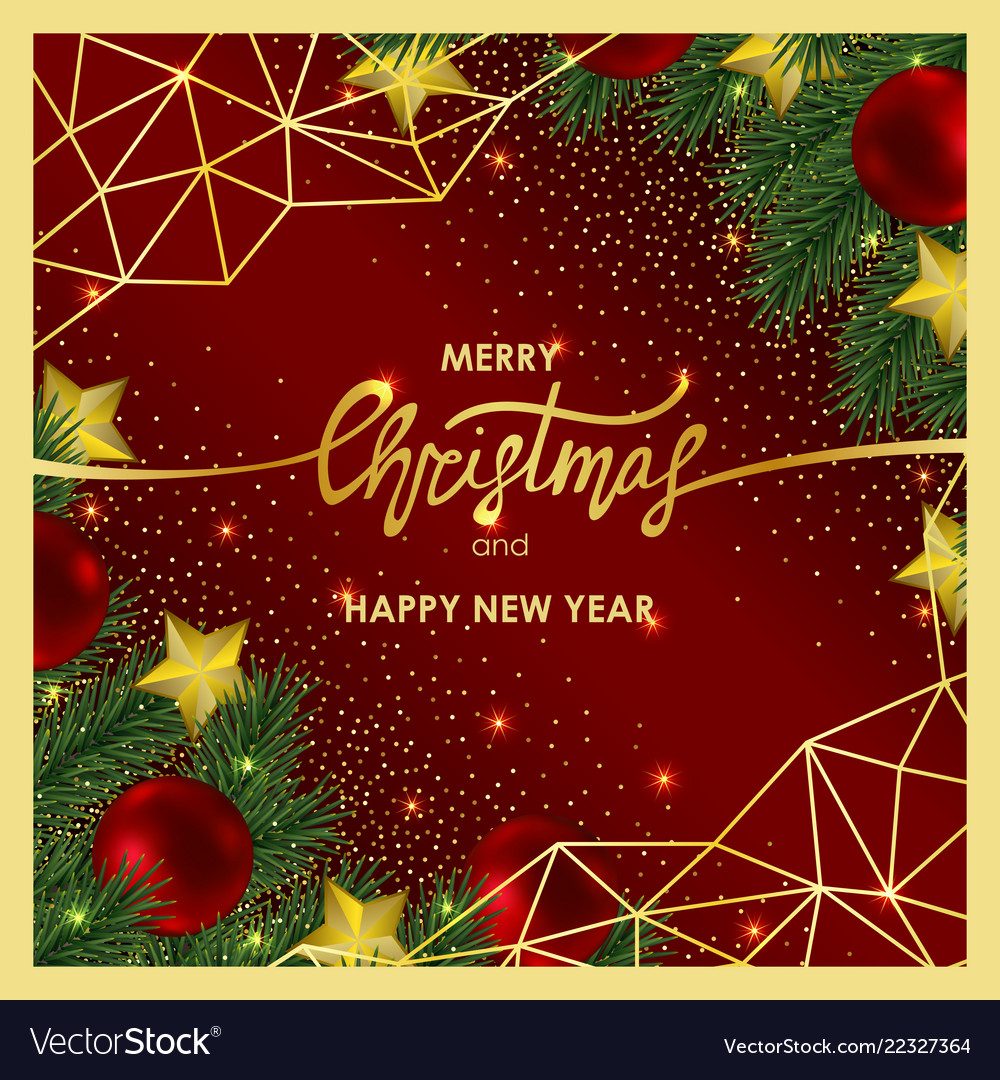 Christmas And New Year Invitation Card With Gold