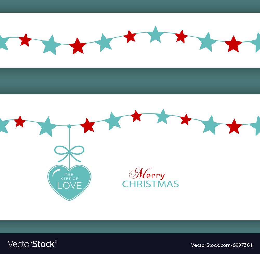 Christmas star border with heart