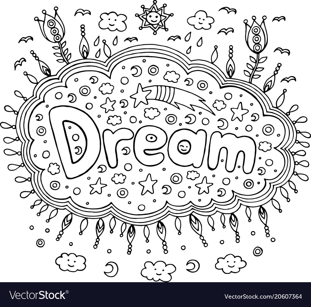 Coloring page for adults with mandala and dream