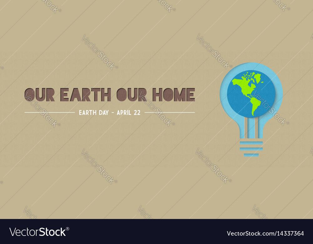 Earth day green light bulb paper cut banner