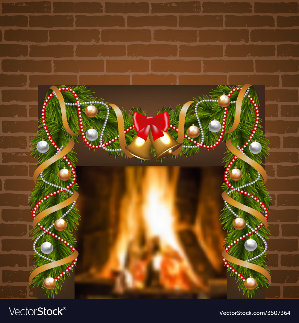 Fireplace And Christmas Garland