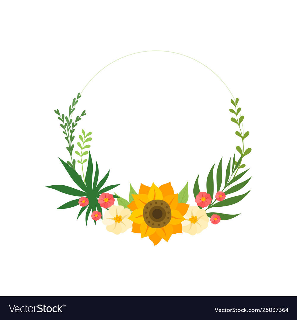 Floral circle frame with blooming flowers leaves