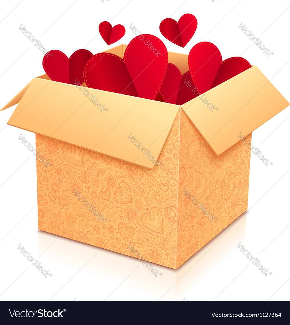 Ornate open box with red paper hearts inside vector image