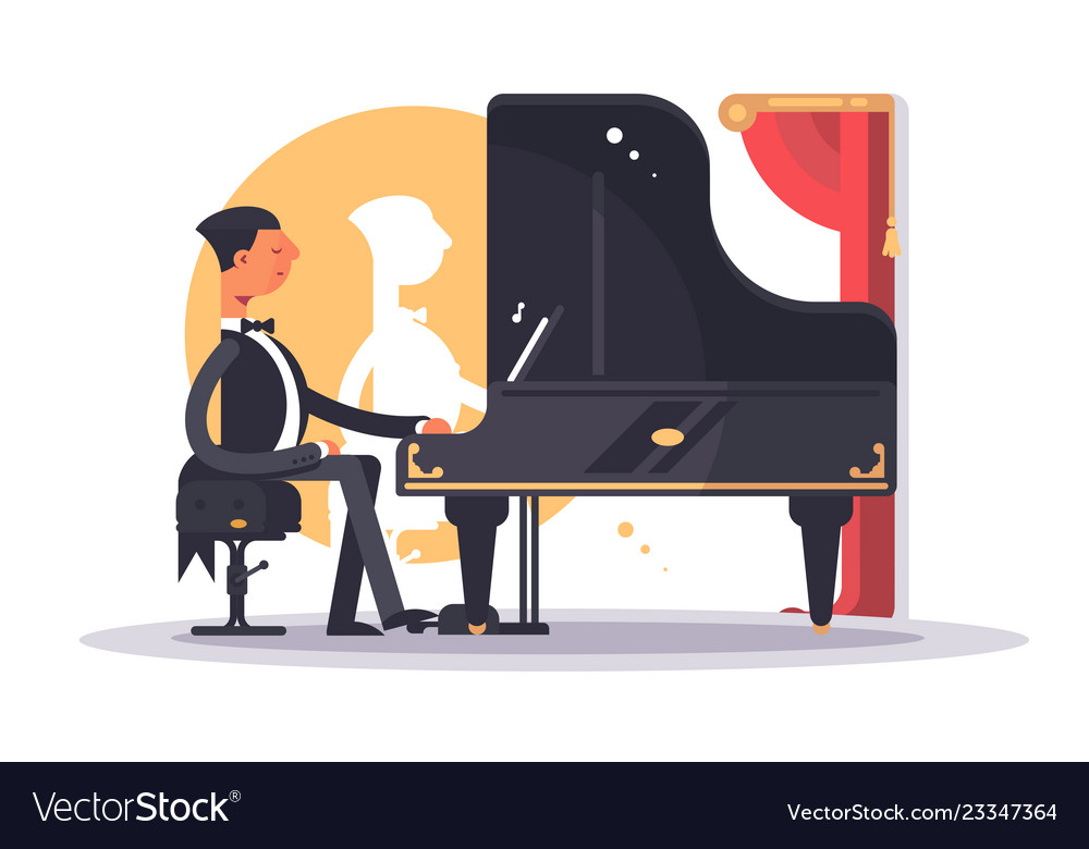 Pianist man in luxury suit playing song