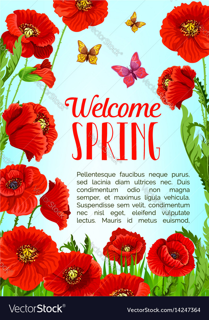 Poster of flowers and welcome spring quotes vector image mightylinksfo