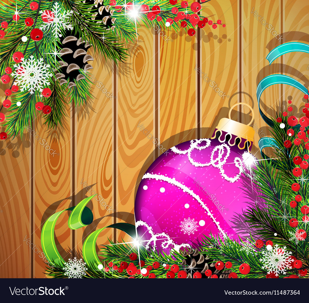 Purple Christmas ball on wooden background vector image