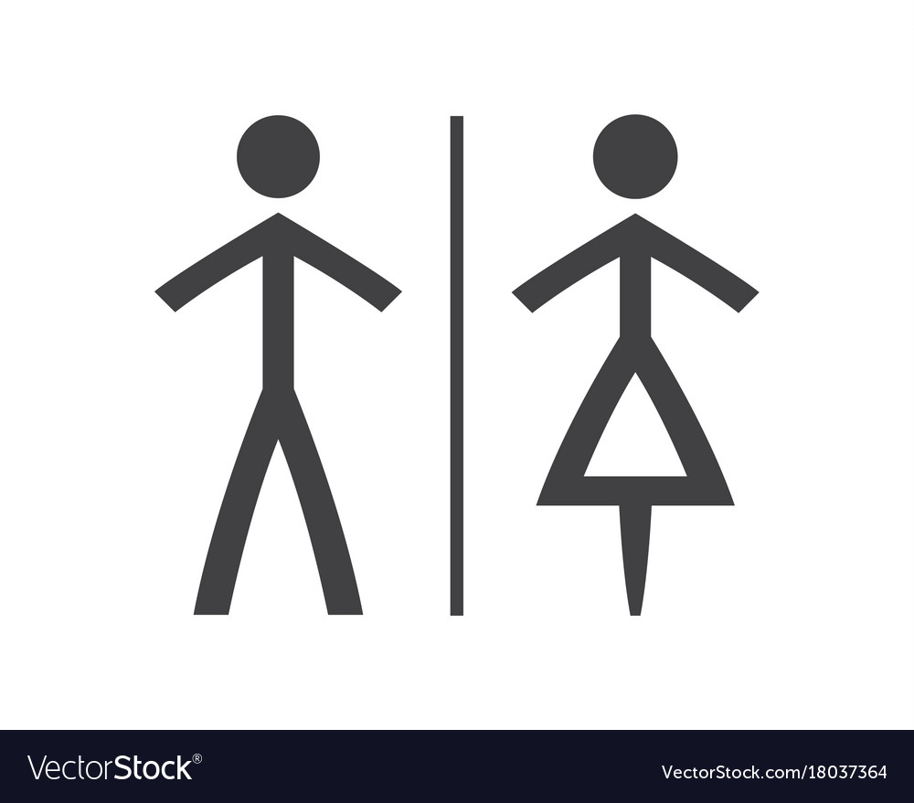 Simple grey and white wc symbols man and woman