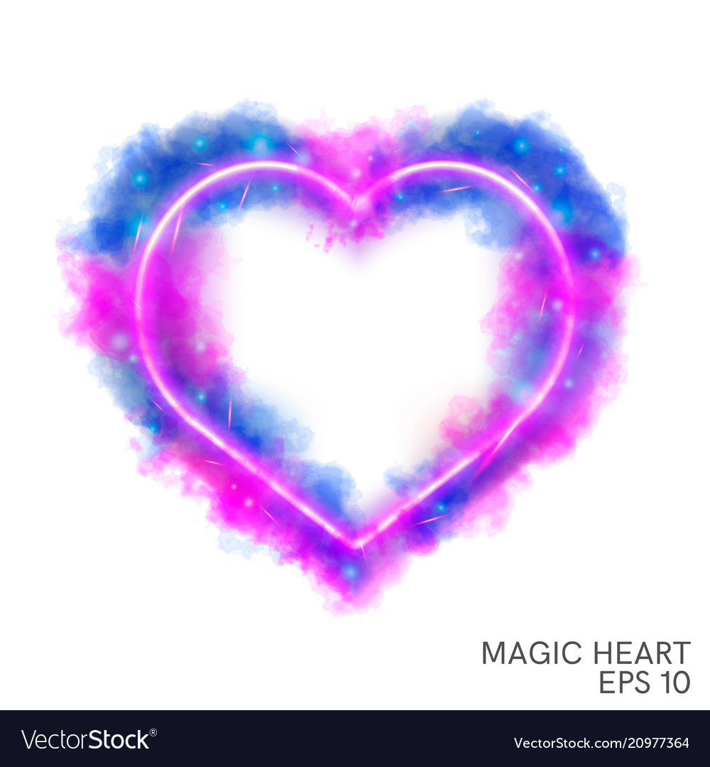 Watercolor magic flaming heart with neon contour