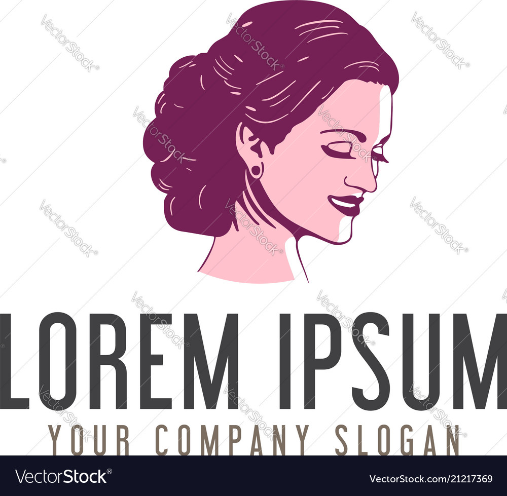 beauty woman face logo design concept template vector image