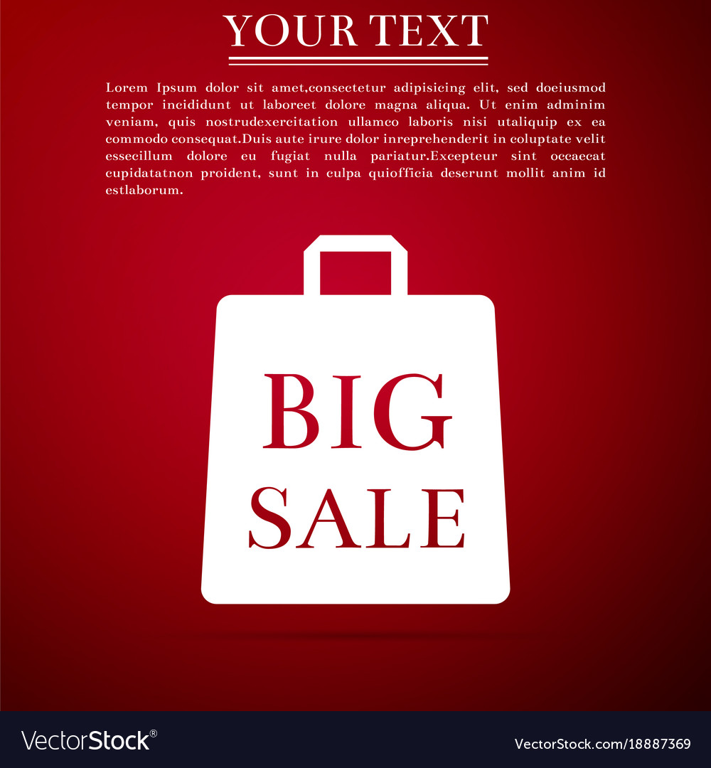 Big sale bag icon isolated on red background