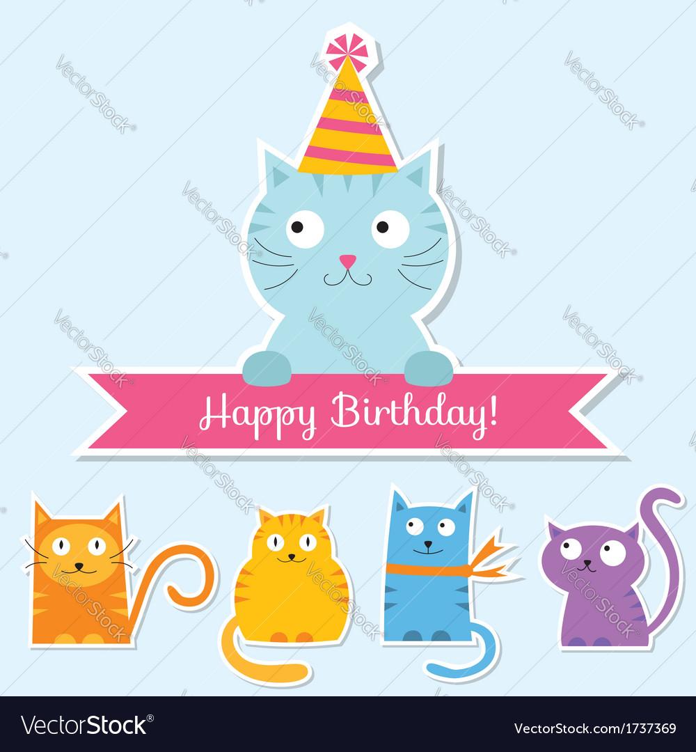 Birthday Cat Card Royalty Free Vector Image Vectorstock