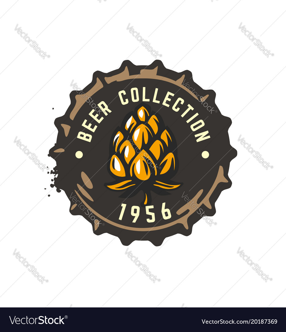 Craft beer bottle cap with hop vector image