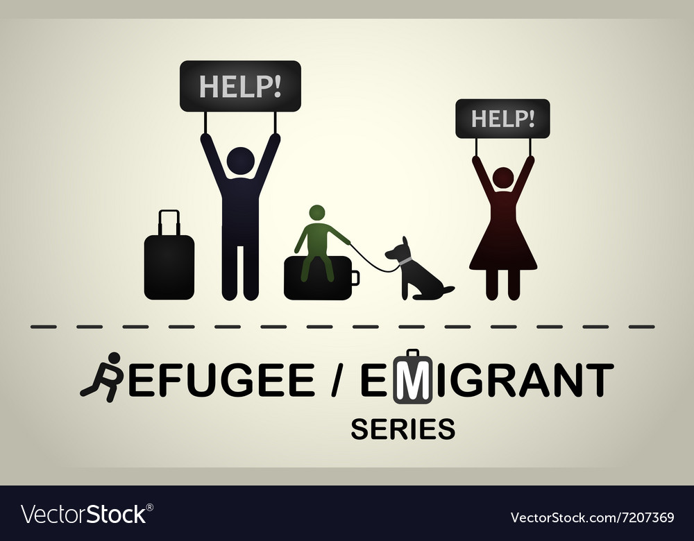 Family of refugees with a dog asking for help