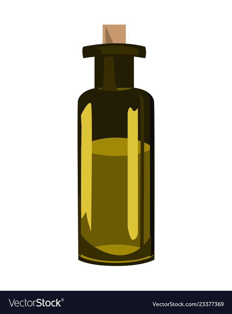 Green Olive Oil Bottle Over White Background