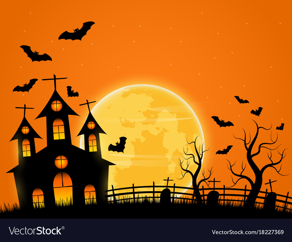 Halloween Spooky.Halloween Spooky Night Background With Castle And