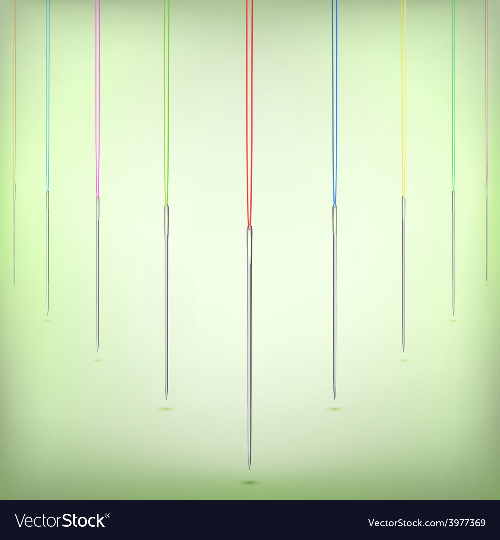 Needles Hanging on Color Thread vector image