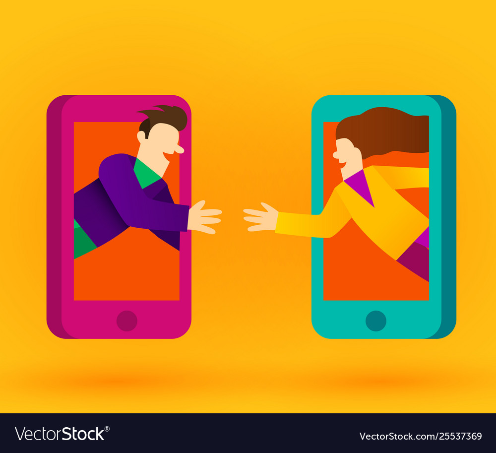 People connecting with smart phones or internet
