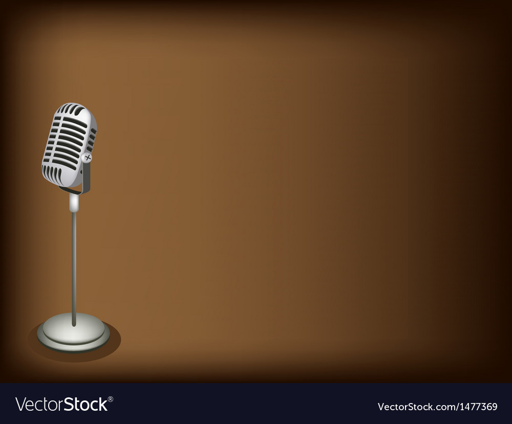 Retro Microphone Brown Background