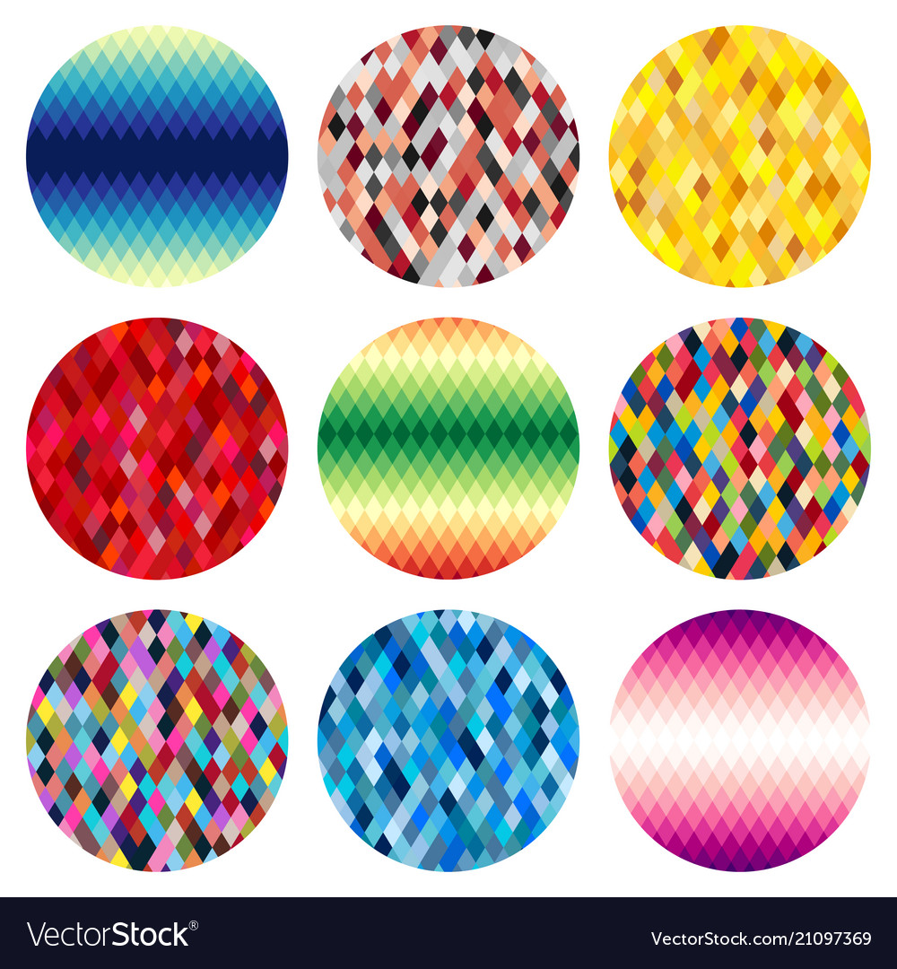 Set of nine colorful circles of rhombuses