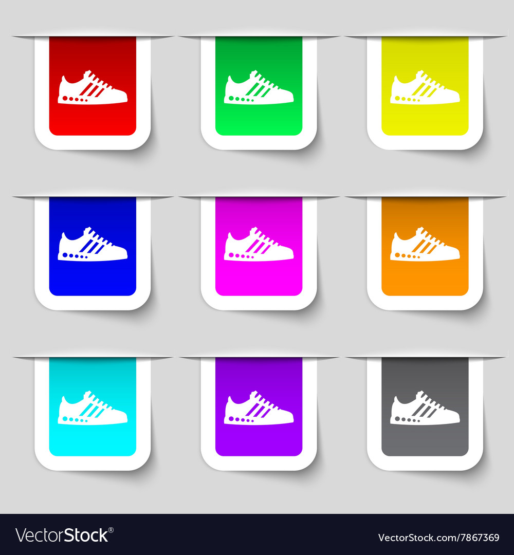 Sneakers icon sign Set of multicolored modern