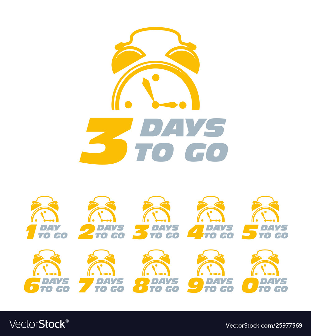 Three days to go sticker with alarm clock limited