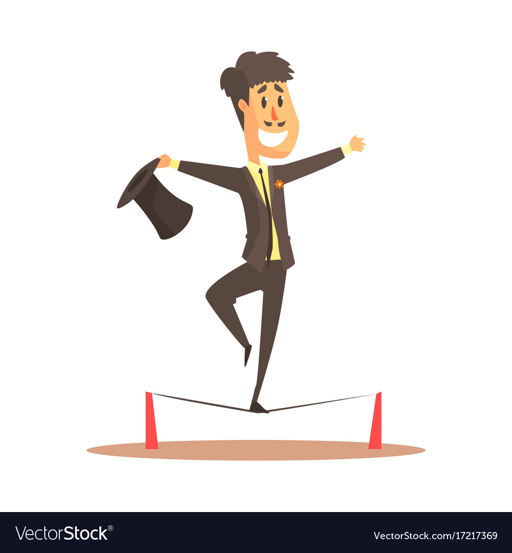 Tightrope walker balancing on the wire circus or Vector Image