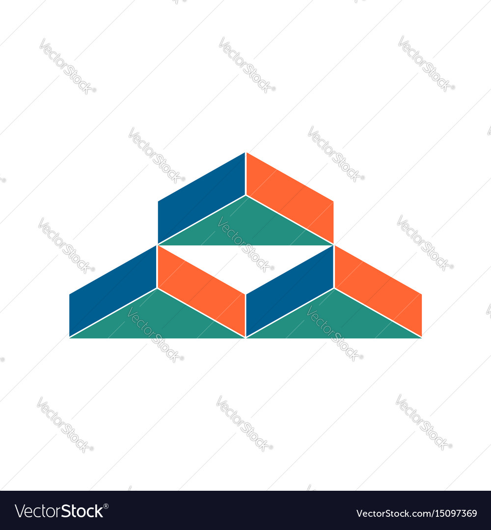 Warehouse logo abstract barn hangar geometric vector image