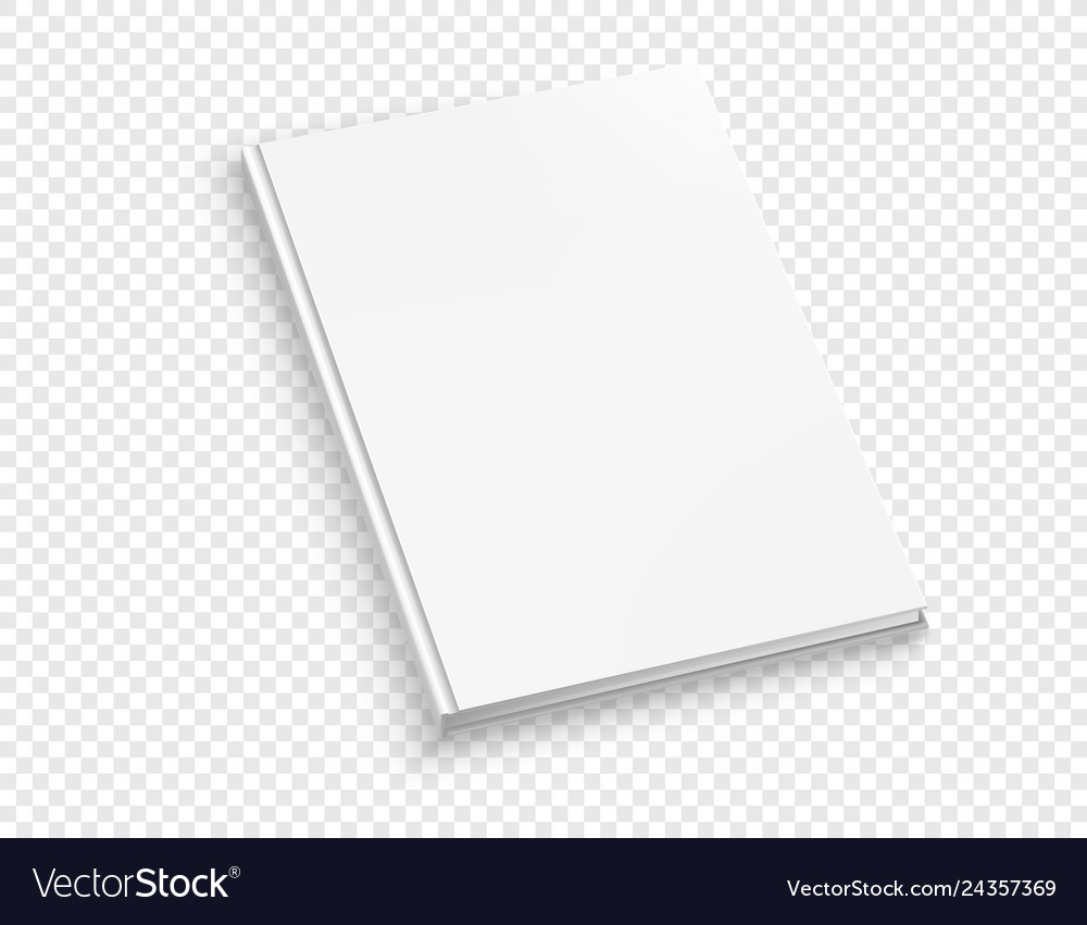 White thin hardcover book mock up isolated on