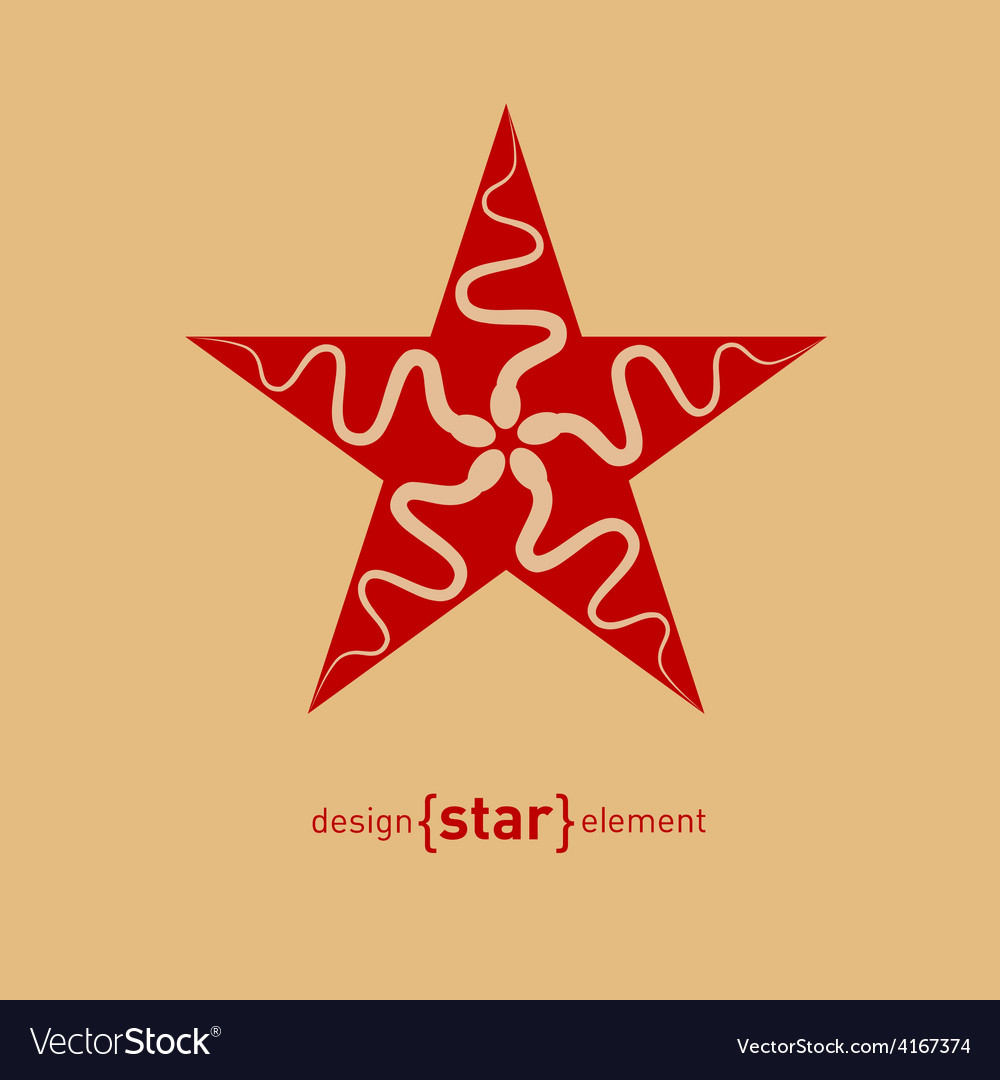 Abstract design element star with spermatozoon