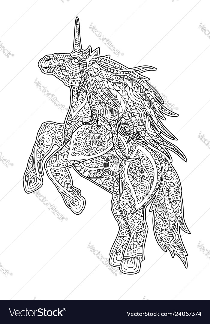 Adult Coloring Book Page With Cartoon Unicorn Vector Image