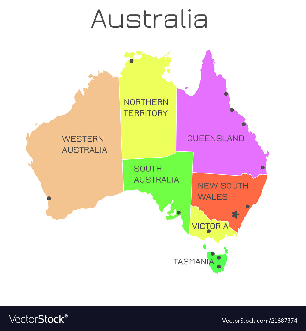 Australia map states colorful