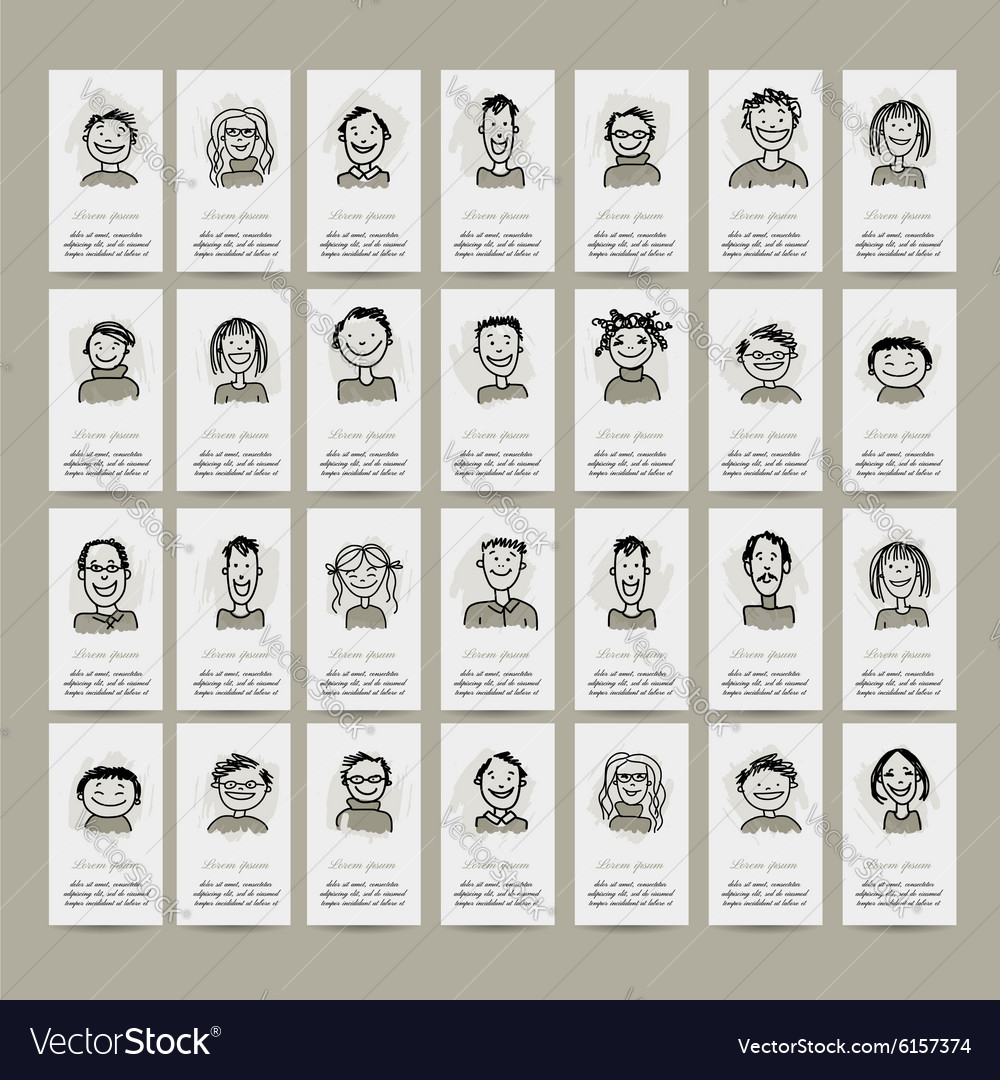 Business cards with people icons sketch for your