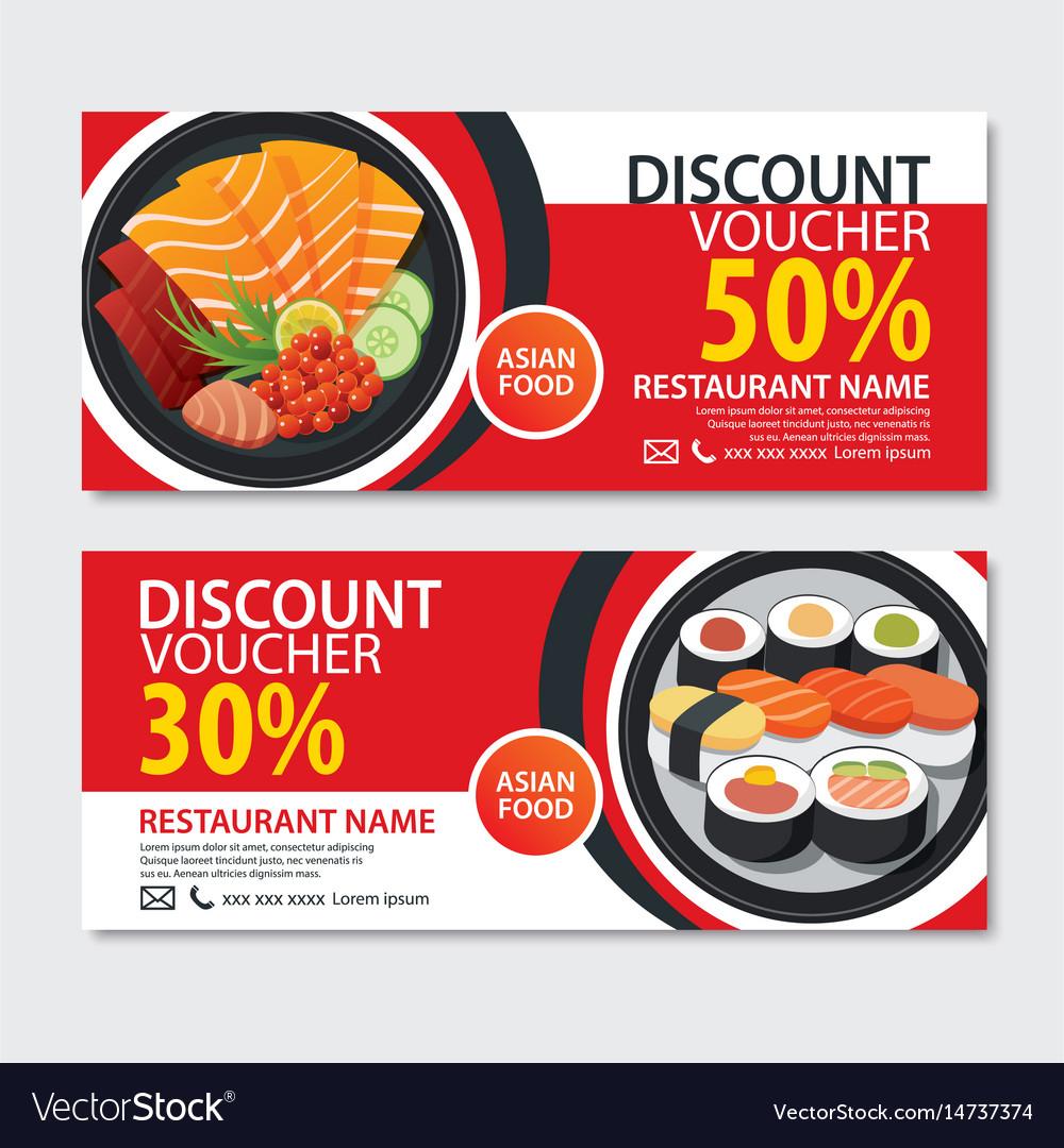 Discount voucher asian food template design