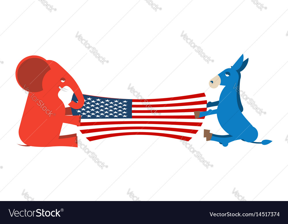 Elephant and donkey divide usa flag political